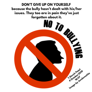 DON'T GIVE UP ON YOURSELF because the bully hasn't dealt with his_her issues. They too are in pain they've just forgotten about it