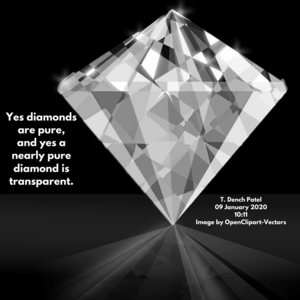Yes a nearly pure diamond is transparent