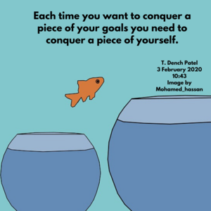 Each time you want to conquer a piece of your goals you need to conquer a piece of yourself